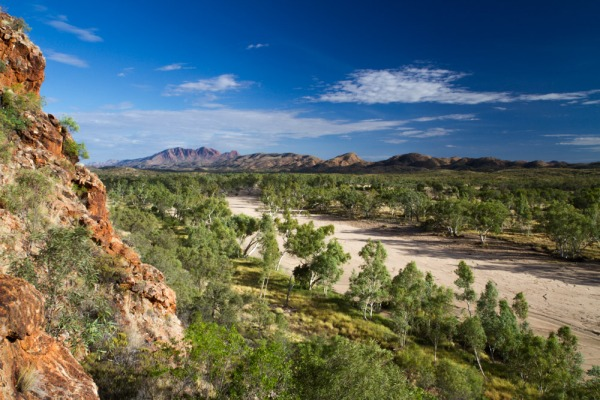 View of Davenport Creek with Mount Sonder in the background. Central Australia.