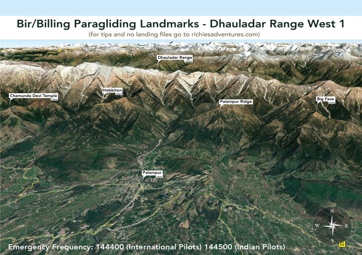 Bir Paragliding Landmarks - Dhauladar Range West 1